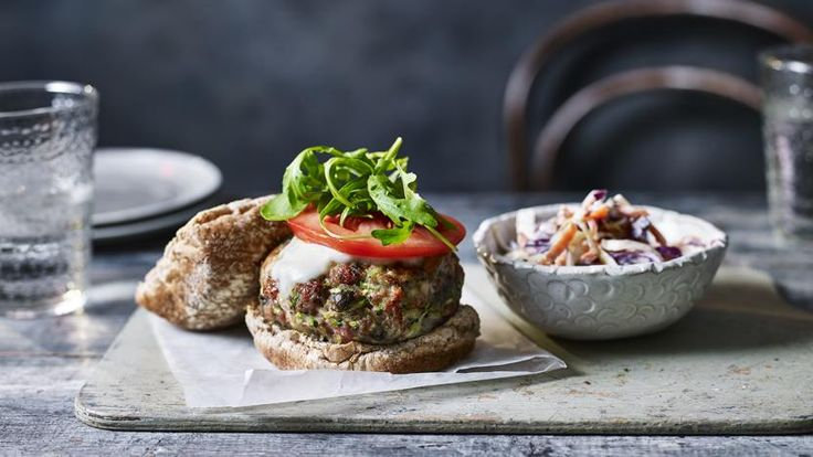 Turkey and courgette burgers with mozzarella