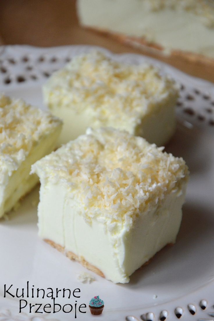 Ciasto Śnieżny puch, Śnieżny puch, Śnieżny puch - ciasto bez pieczenia, Ciasto Śnieżny puch na herbatnikach, Śnieżny puch z posypką.