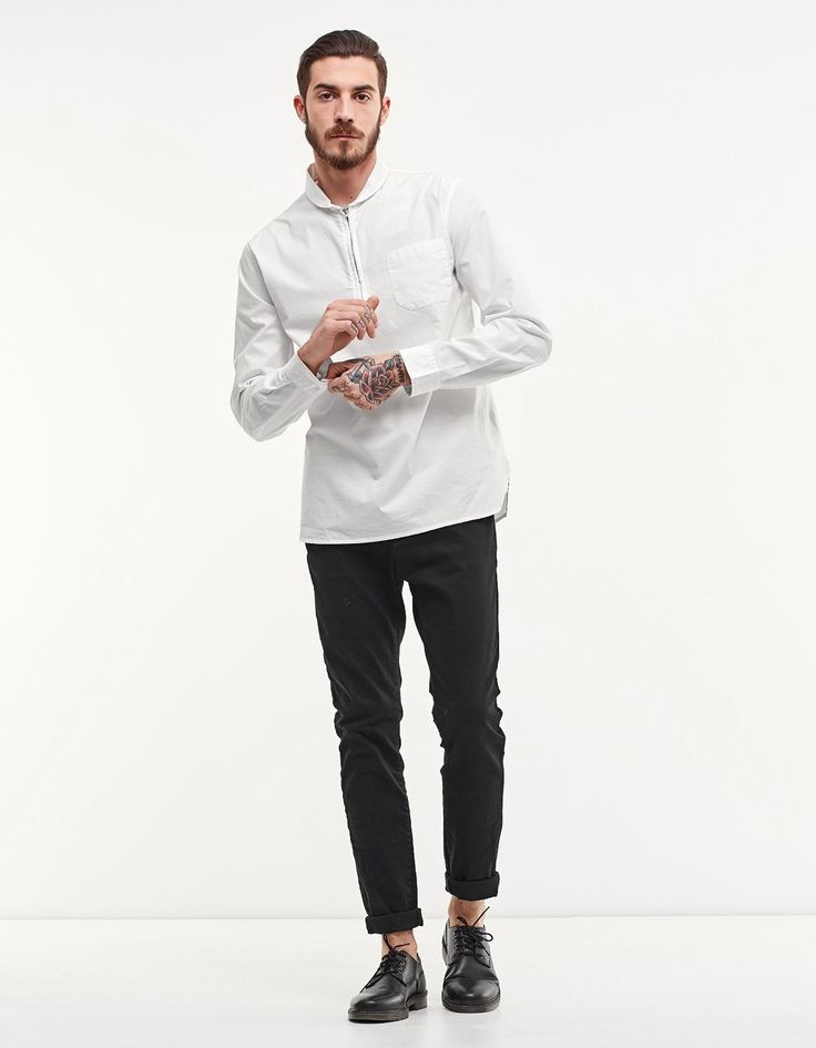 Рубашка с молнией и шалевым воротником - Рубашки | Stradivarius Россия