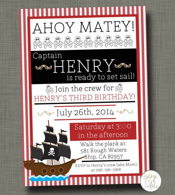 Pirate birthday party invitation baby boy birthday by laceyfields, $10.00