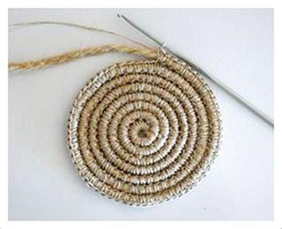 17 mejores im genes sobre labores crochet en pinterest - Cesta de cuerda y ganchillo ...