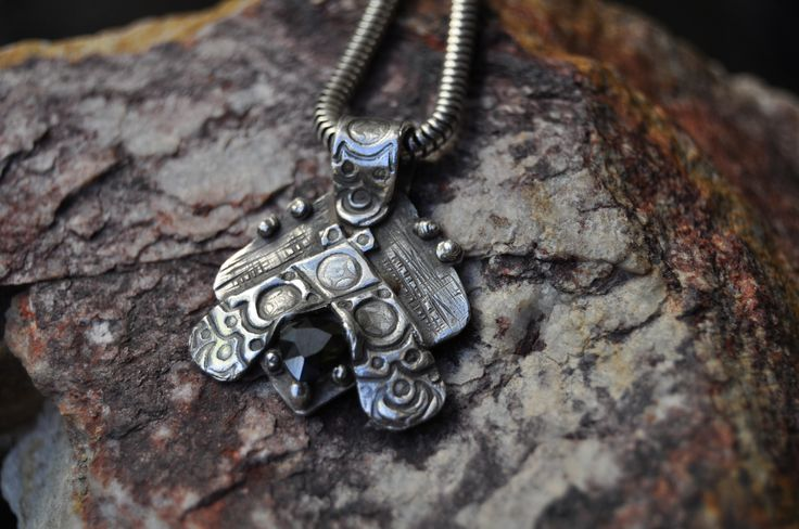 Olive CZ pendant with patina added - by VAN VUUREN Designs