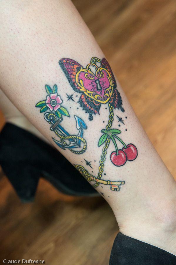 Camille Old School Tattoo. Tattoo creation. Tatouage par Gaëlle Mouster de L'Atelier du Corps (Longueuil Qc) 450-332-6496
