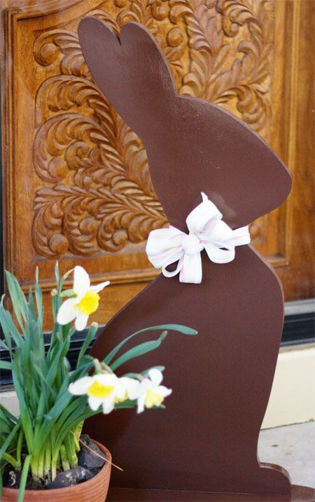 How Cute is This?  A Chocolate Easter Bunny made from MDF Board and painted, ''Chocolate brown'' of Course!  From ''Skip to My Lou'' blog, where you'll find a FREE Template for it!