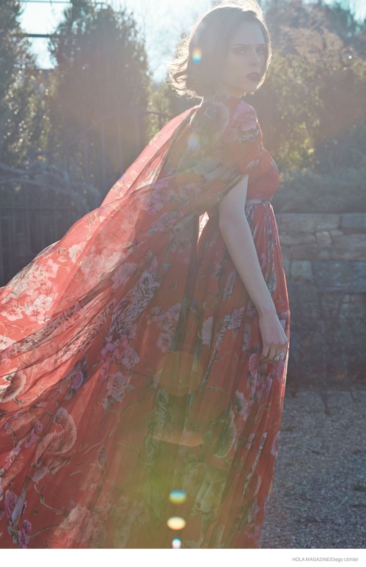 Coco Rocha wearing crimson in the sun | for Hola Magazine