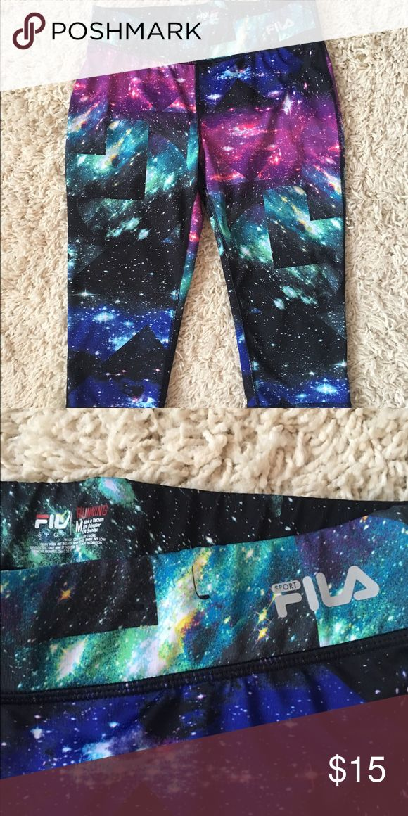Fila Galaxy Workout Capri Like New! Worn only once! Galaxy print workout Capri. Polyester and Spandex Pants Track Pants & Joggers