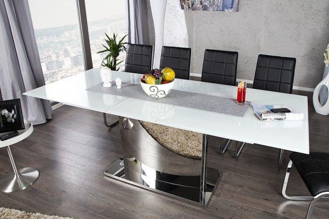Ausziehbarer Design Esstisch CONCORD Glastisch chrom weiss 180-220cm Tisch -