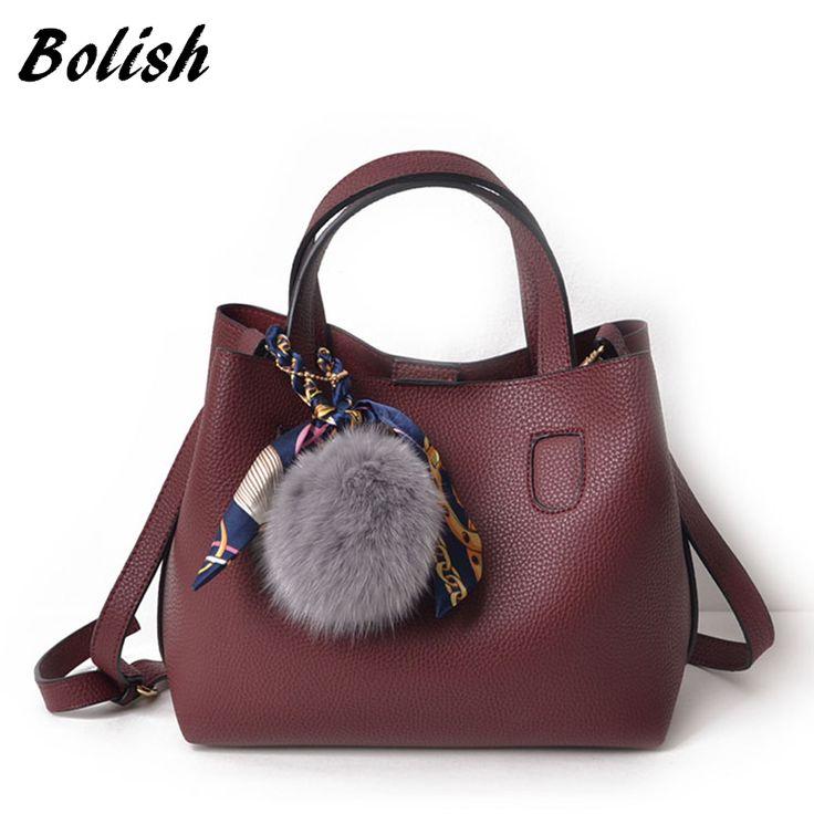 Bolish Litchi Pattern Soft PU Leather Women Handbag Two Pieces Female Shoulder Bag Girls Messenger bag Casual Women Bag //Price: $25.60 & FREE Shipping //     #buy18eshop