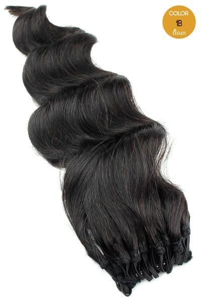 MilkyWay Saga 100% Human Hair Crochet Braiding Hair Loose Deep Pre-Looped Color 1B - Off Black