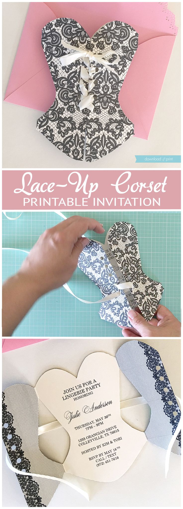 DIY lace-up corset invitation that's so easy to make. If you can lace a shoe you can lace this corset! Perfect for a lingerie shower or milestone birthday. – Tuana