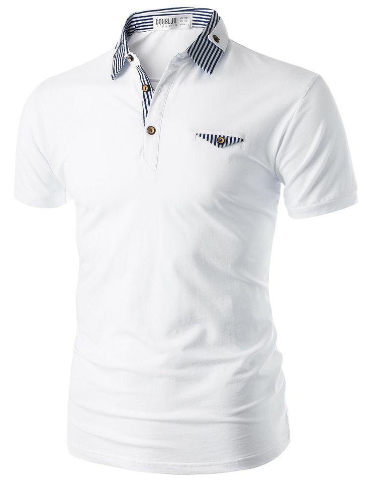 Doublju Men's Short Sleeve Polo Shirt with Neck Band Detail (CMTTS06) #doublju