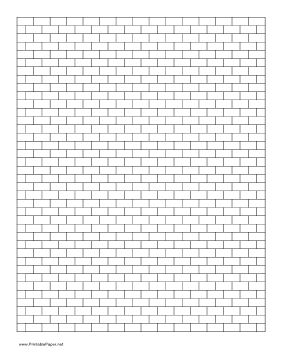 Graph paper with a brick layout, where each row is offset half a unit horizontally from neighboring rows. Ideal for brick or peyote stitch in beading, or for other crafts. Free to download and print