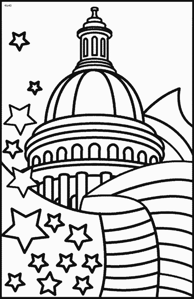 Printable coloring pages july 4 - Whitehouse White House On 4th July Coloring Pages To Print White House On 4th