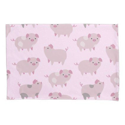 Cute Pink Baby Piglets Pattern & Dots Pillow Case - pattern sample design template diy cyo customize