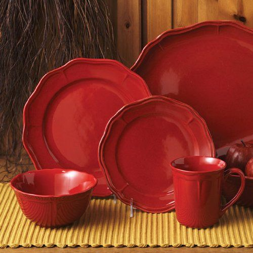 Better Homes 16 Pc Fluted Red Dinnerware Set | tabletop at Amazon & 40 best Dishes - red dinnerware images on Pinterest | Dish sets ...