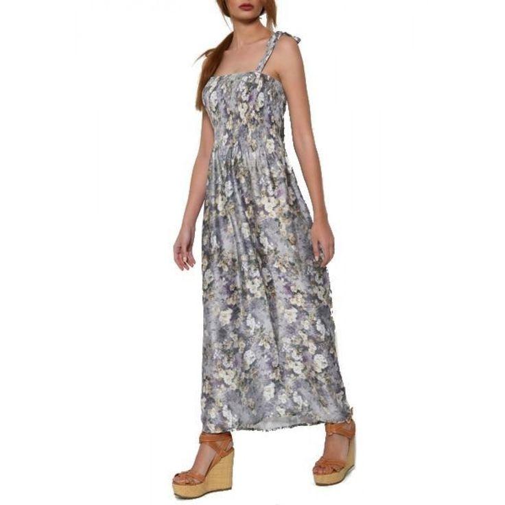 Φόρεμα Φλοράλ Σατέν με τιράντες & σφιγγοφωλιά στο μπούστο
