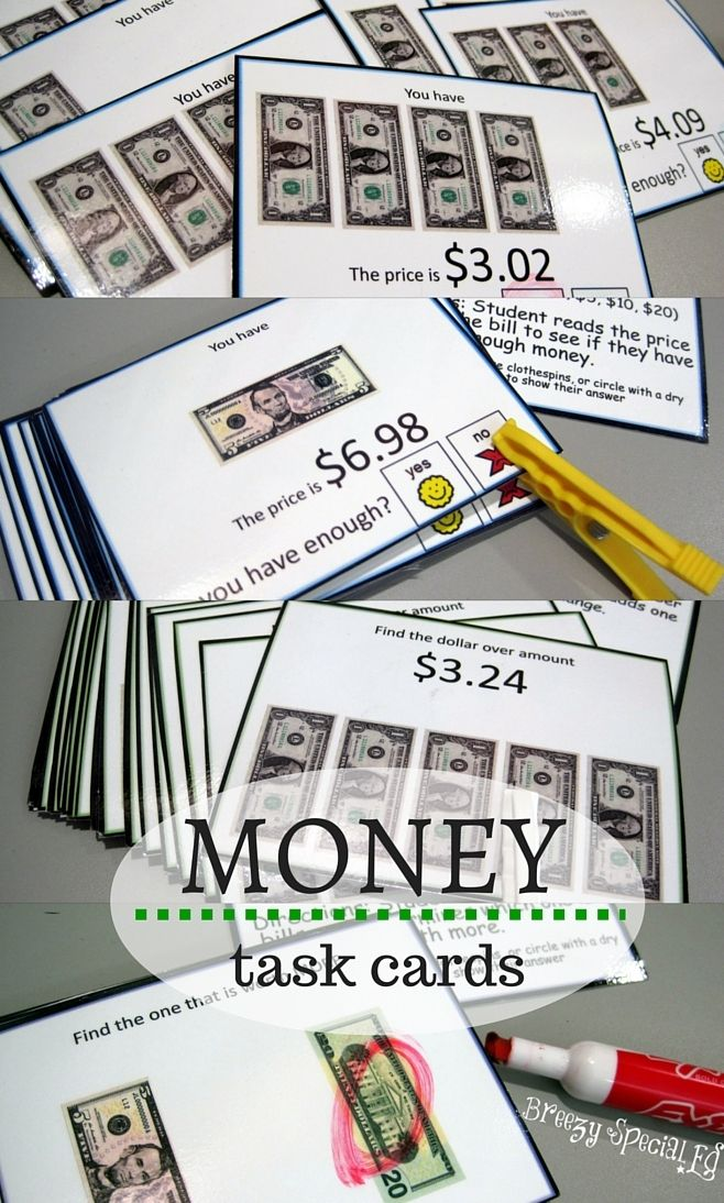 This set of task cards is perfect for extra money practice and works on a variety of important money skills. I love that they can be used in TEACCH boxes, during direct instruction, or other independent work!