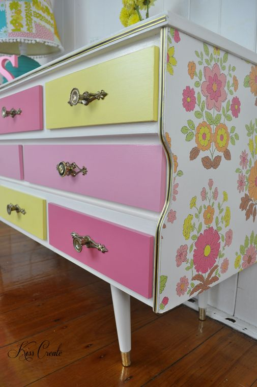 Retro Girl An original by Kiss Create A retro dresser inspired by 50's vintage wallpaper.  Annie Sloan Chalk Paint mixed to make the perfect colours to match in with flowers on wallpaper. Kiss Create designs dressers for babies, kids, teens and adults. Please follow me on facebook or instagram to see all my finds and makeovers. x