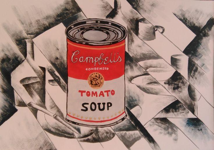 Acrílico sobre papel, espacio fragmentado, Andy Warhol y Juan Gris