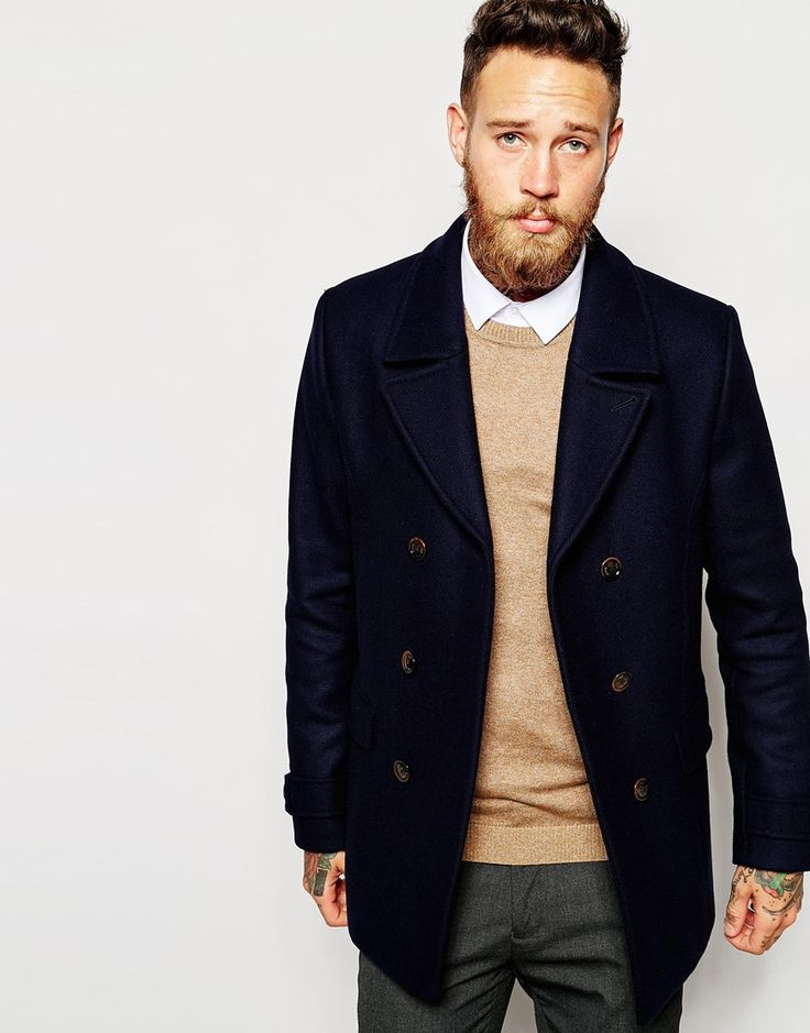 """Pea coat by Ted Baker Mid-weight, wool-rich outer Soft-touch finish Oversized notch lapel Double-breasted button placket Functional pockets Lined with internal pocket Tab and button cuffs Center vent Regular fit - true to size Dry clean 78% Wool, 22% Polyamide Our model wears a size Medium and is 191cm/6'3"""" tall"""
