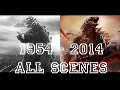Godzilla all movies [ 1954 to 2014 ] Full scenes and transformations - YouTube