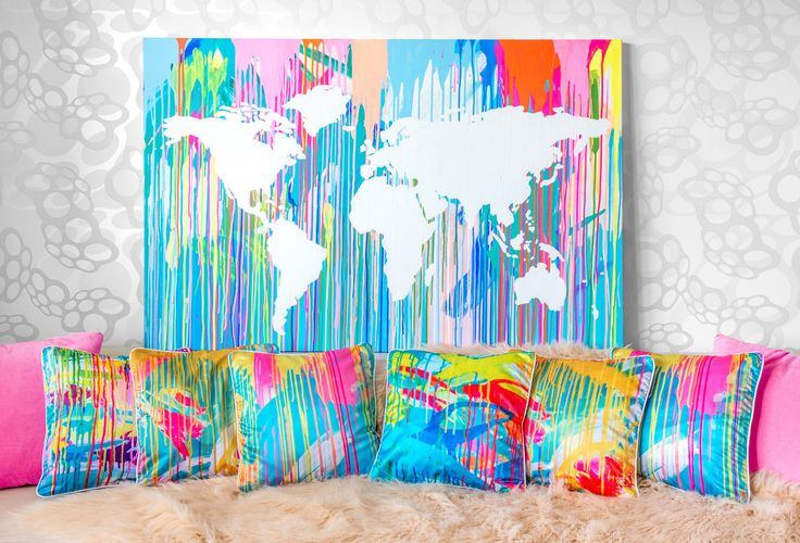 Around the World series are very popular, colorful paintings. They are made to shine. Ideal for travel lovers. I can made this paintings at any size and color range. This product is ready made for order available.  Product can be shipped as the stretch canvas in maximu 140x70 cm size, bigger paintings are able to shipped as a roll in cardboard tube.