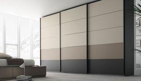 Armarios puertas correderas a medida de Muebles JJP. Puertas con 5 paneles combinados. Los colores pueden ser texturados o metacrilátos. #armarios @mueblesjjp