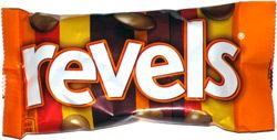 Revels are a right mixed bag!  All of these Revels look similar but have a wide variety of centres, such as toffee, coffee, mint, raisin and orange.