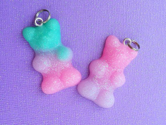 Pastel goth candy gummy bear charms gothic lolita kawaii colorful resin jewelery