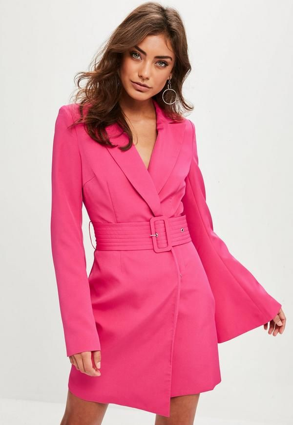 ad7d182c7c Pink Belted Flared Sleeve Blazer Dress