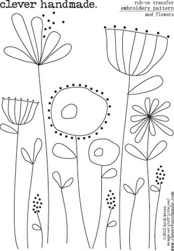 Clever Handmade - Embroidery Patterns - Rub Ons - Mod Flowers at Scrapbook.com