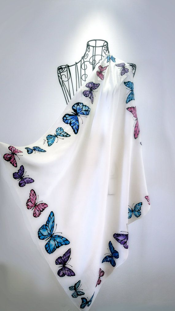 """Hand painted silk scarf -""""Elegant Butterfly""""- butterfly scarves- medium silk scarf, bitterflies scarves"""