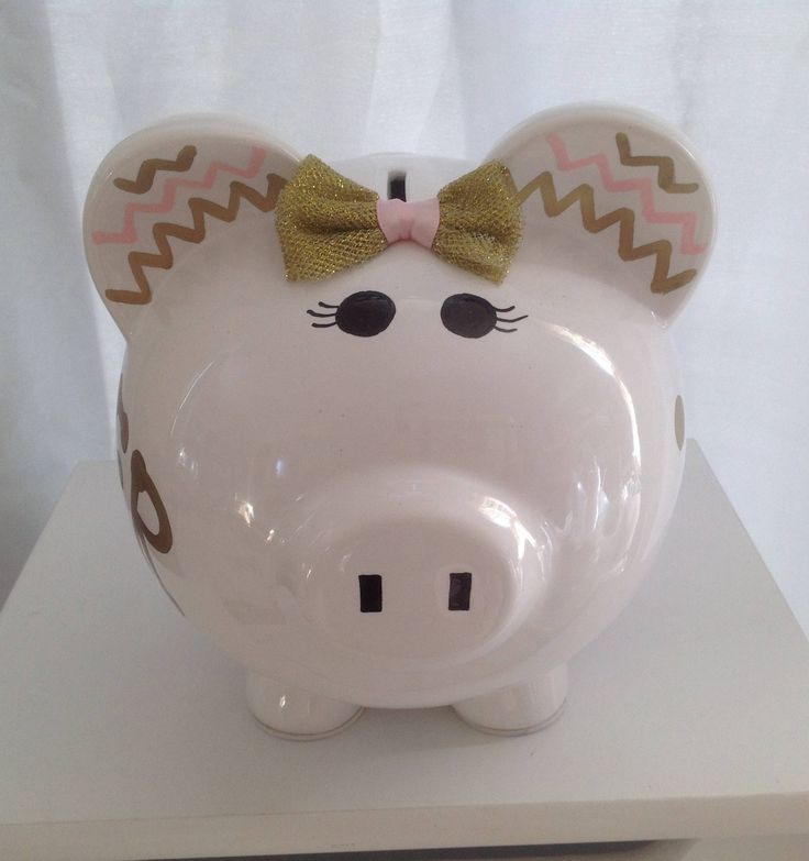 Personalized Large  Piggy  Bank Polka Dots and chevron pink and gold  - Baby Showers Christenings, Birthdays, 1st Communion by KUTEKUSTOMKREATIONS on Etsy