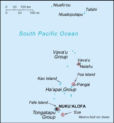 Tonga map. Tonga consists of groups of islands. Visited Ha'apai island group, Vava'u, and Tongatapu.