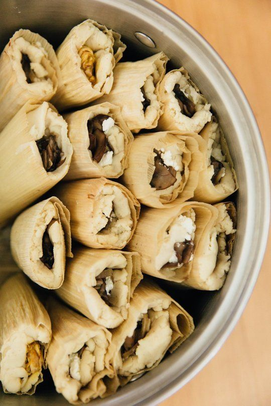 Recipe: Mushroom and Goat Cheese Tamales with Mole Verde — 5 Recipes for a Christmas Tamale Party | The Kitchn