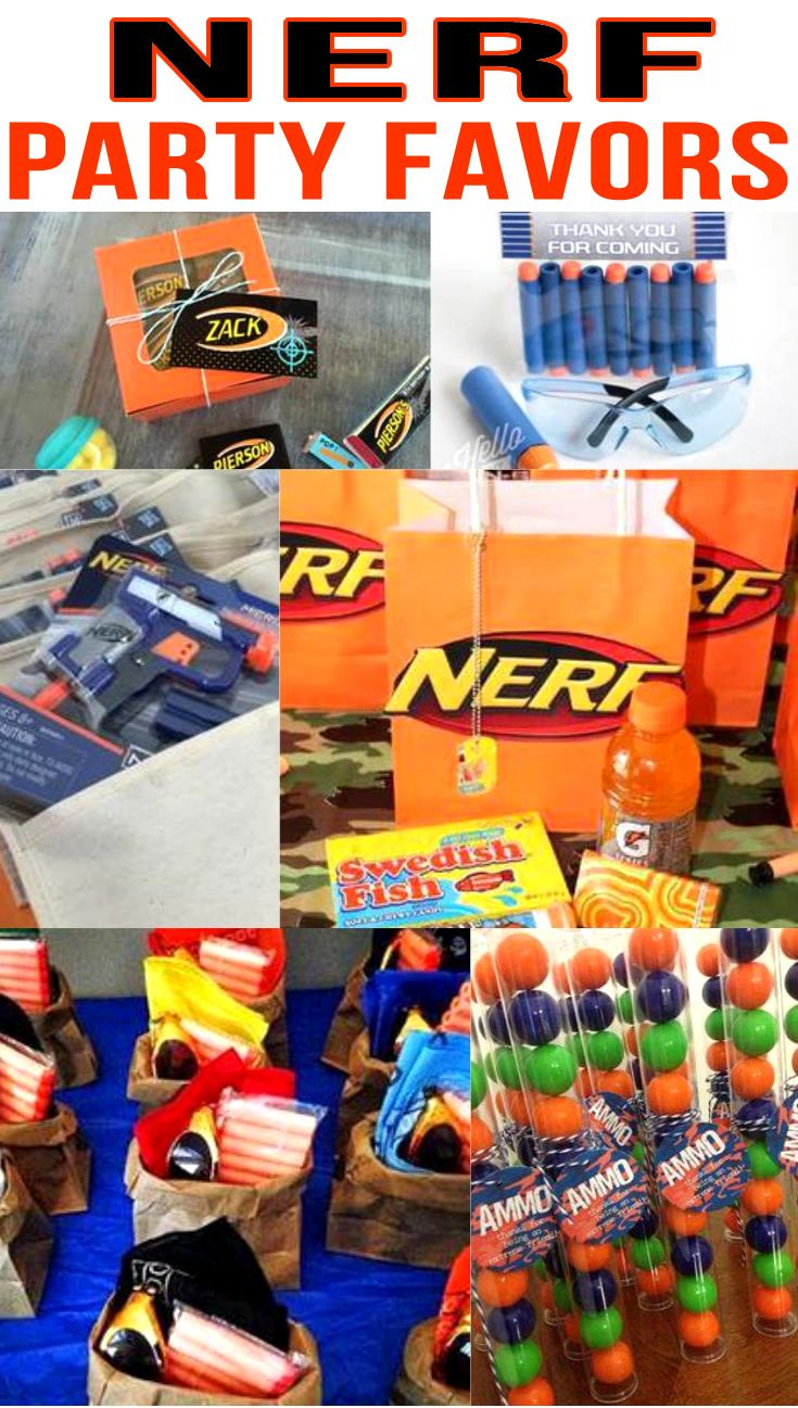 Nerf Birthday Party Favors! Nerf gun party bags, goodie bag & more ideas.  Get the best Nerf Gun birthday party ideas. Best ideas for boys and girls for a bday or classroom party. Candy, gum, toys & more kids and children of all ages will love. DIY or buy some fun Nerf party favors. Find Nerf birthday party ideas now!