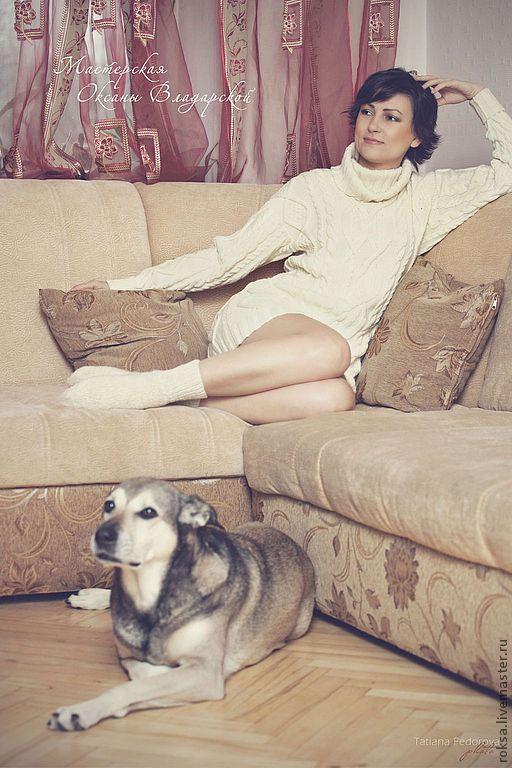 """Вязаный свитер - платье """"Любимый"""" - белый свитер,свитер с горлом,свитер на заказ"""