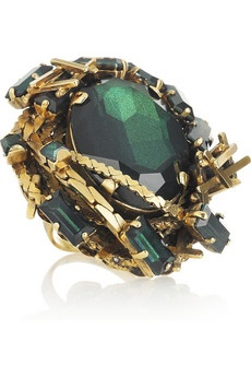 Erickson Beamon  Family Jewels oversized 22-karat gold Swarovski crystal ring