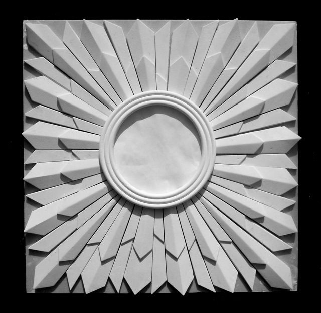 Art Deco sunburst 'Saturn' square plaster ceiling rose design 24 ins
