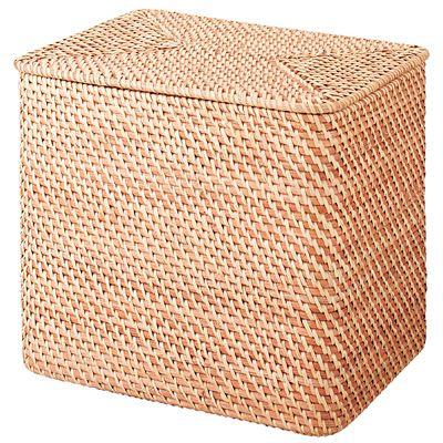 重なるラタン長方形ランドリーバスケットフタ付