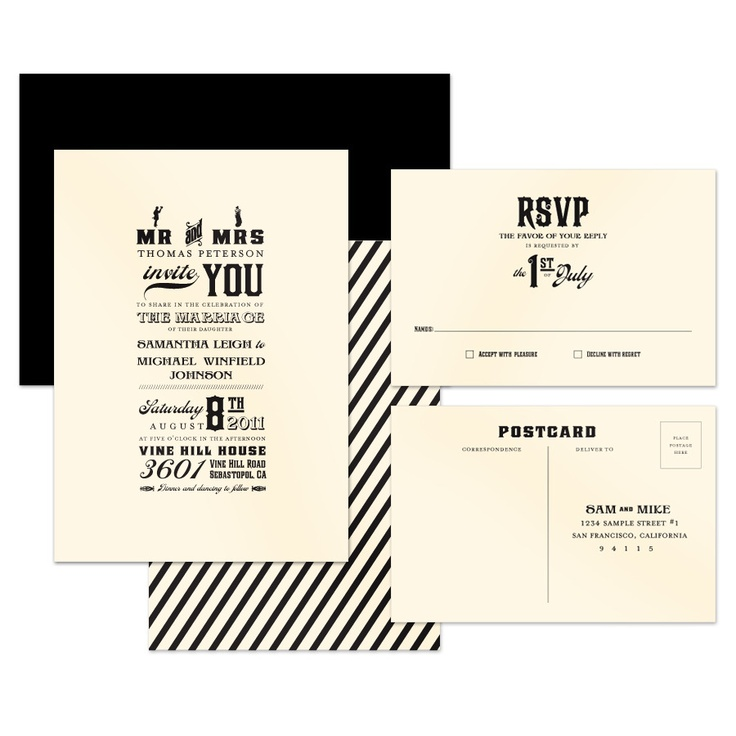nice and simple: Black Ties Invitations, Black Tie Wedding, Jack Master, Black And White, Black Tie Invitation, Black Ties Wedding, Wedding Invitations, Jack O'Connell, Postcards Ideas