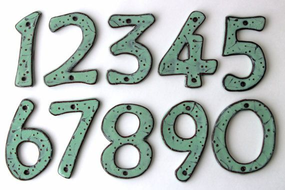 House Numbers Modern Pottery Letters Aqua Mist by BackBayPottery