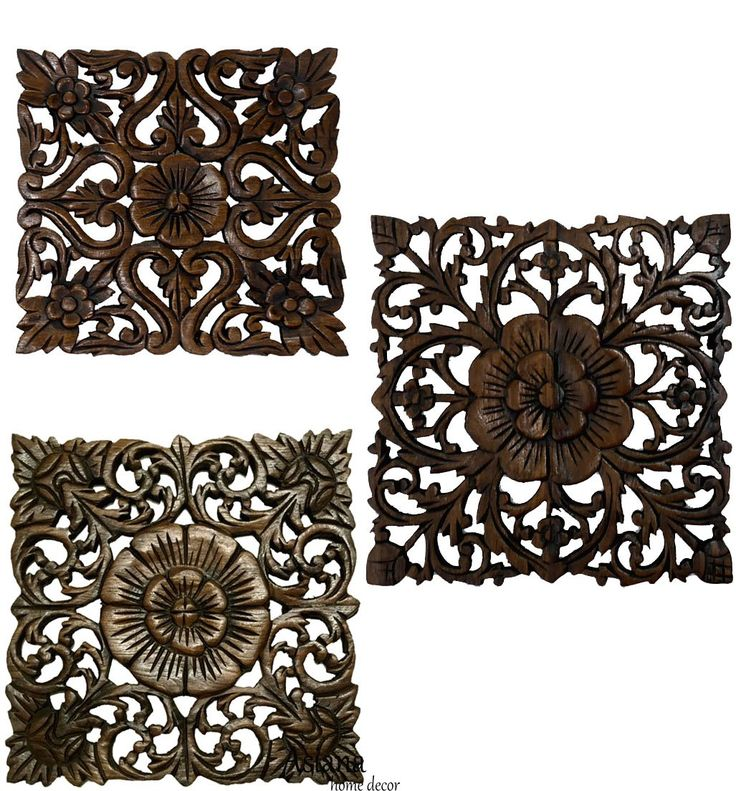 """Wood Plaque Oriental Carved Lotus. Rustic Wall Decor. Hand Carved Wall Art Decor Panel. Thai Decorative Wood Panels. Set of 3. 12"""" Square"""