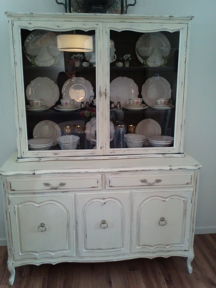 Hutch Painted With Annie Sloan Chalk Paint In Old White Lightly Distressed Inside Graphite Sealed Clear Wax