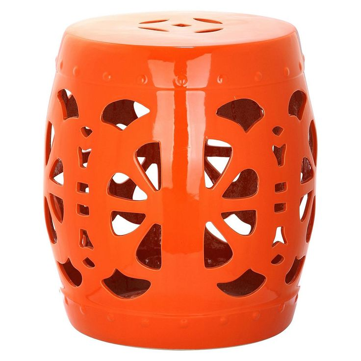 Outdoor Safavieh Blossom Ceramic Garden Stool, Orange