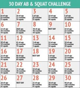 30 Day Abs and Squat Challenge - 30 Day Fitness Challenges - Weight loss brand