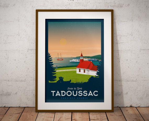 Retrouvez cet article dans ma boutique Etsy https://www.etsy.com/fr/listing/499363000/travel-poster-quebec-tadoussac-route-du