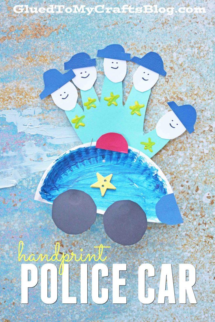 Paper Plate Handprint Police Car - Kid Craft Idea
