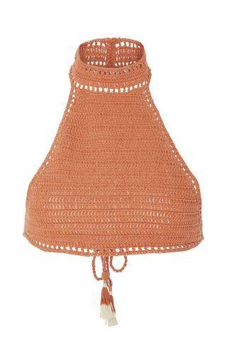 Savarna Crocheted Halter Bikini Top by SHE MADE ME Now Available on Moda Operandi