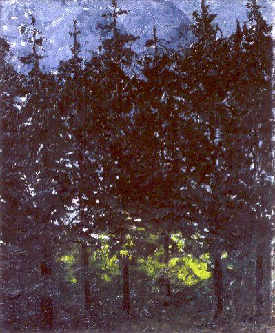 August Strindberg: Las spruce, 1905, oil on cardboard, 27 x 21 cm. Nordiska Museet, Stockholm.